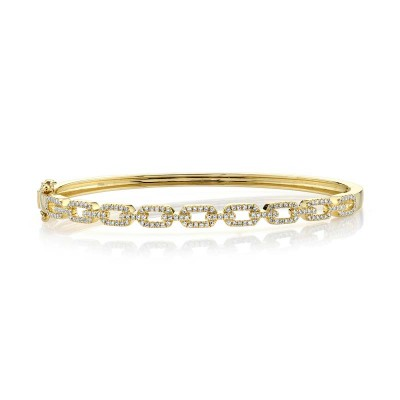 0.44ct 14k Yellow Gold Diamond Link Bangle