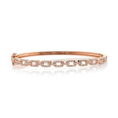 0.44ct 14k Rose Gold Diamond Link Bangle