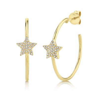 0.16ct 14k Yellow Gold Diamond Pave Star Hoop Earring