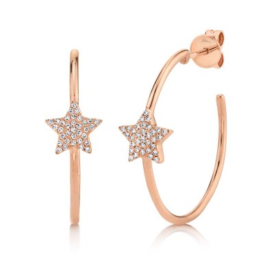 0.16ct 14k Rose Gold Diamond Pave Star Hoop Earring