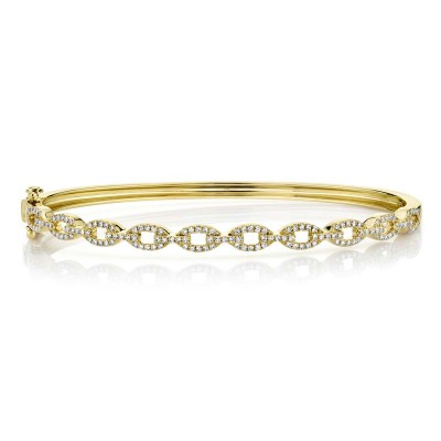 0.43ct 14k Yellow Gold Diamond Link Bangle