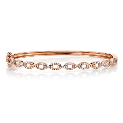 0.43ct 14k Rose Gold Diamond Link Bangle