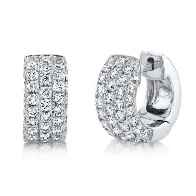 1.17ct 14k White Gold Diamond Pave Huggie Earring