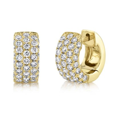 1.17ct 14k Yellow Gold Diamond Pave Huggie Earring