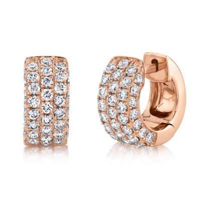 1.17ct 14k Rose Gold Diamond Pave Huggie Earring