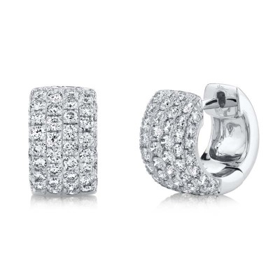 1.33ct 14k White Gold Diamond Pave Huggie Earring