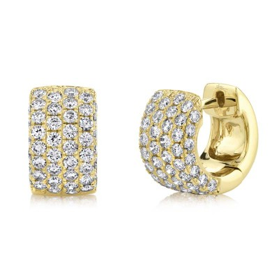 1.33ct 14k Yellow Gold Diamond Pave Huggie Earring