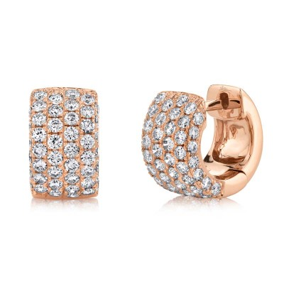 1.33ct 14k Rose Gold Diamond Pave Huggie Earring