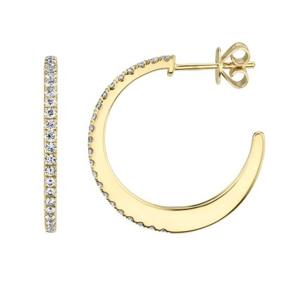 0.51ct 14k Yellow Gold Diamond Hoop Earring