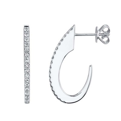 0.42ct 14k White Gold Diamond Hoop Earring