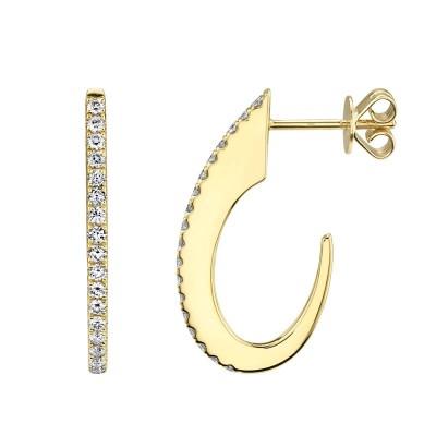 0.42ct 14k Yellow Gold Diamond Hoop Earring