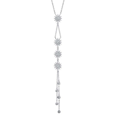 0.54ct 14k White Gold Diamond Star Necklace