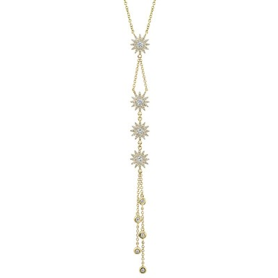 0.54ct 14k Yellow Gold Diamond Star Necklace