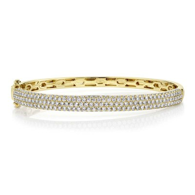 2.97ct 14k Yellow Gold Diamond Pave Bangle
