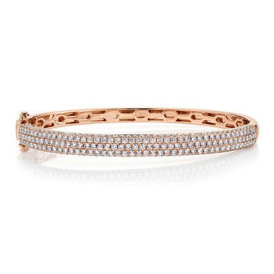 2.97ct 14k Rose Gold Diamond Pave Bangle