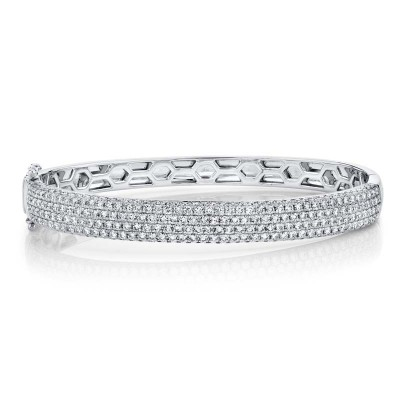 3.59ct 14k White Gold Diamond Pave Bangle