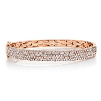 3.59ct 14k Rose Gold Diamond Pave Bangle