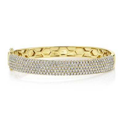 4.21ct 14k Yellow Gold Diamond Pave Bangle