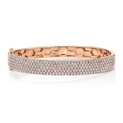 4.21ct 14k Rose Gold Diamond Pave Bangle