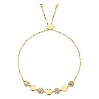 0.20ct 14k Yellow Gold Diamond Pave Circle Bolo Bracelet
