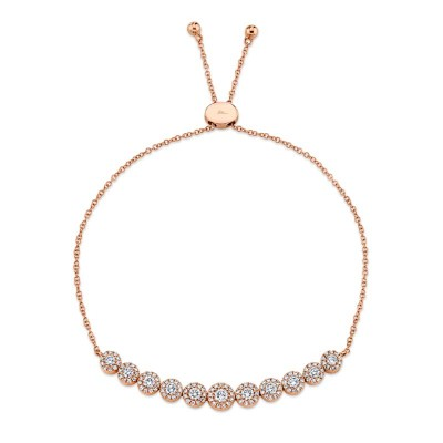 0.97ct 14k Rose Gold Diamond Bolo Bracelet