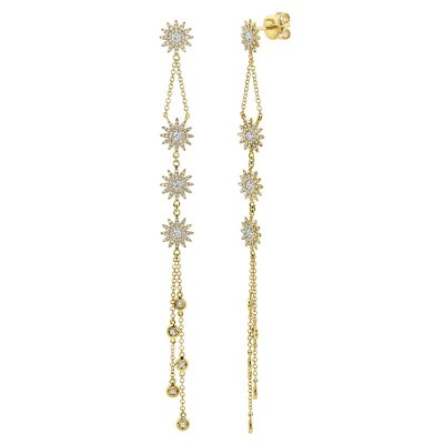 1.08ct 14k Yellow Gold Diamond Star Earring