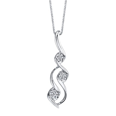Scallop Bezel 3 Diamond Drop Necklace by Sirena