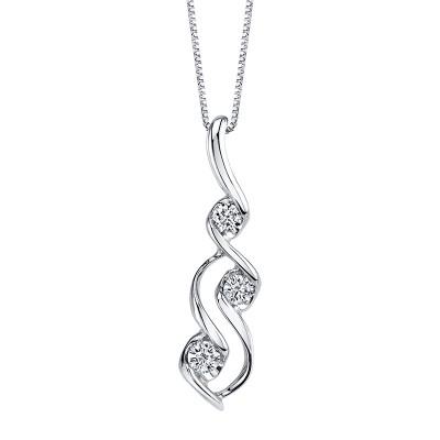 Scallop Bezel 3 Diamond Drop Necklace by Sirena