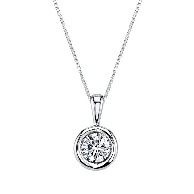 Diamond Solitaire Bezel Set Necklace by Sirena