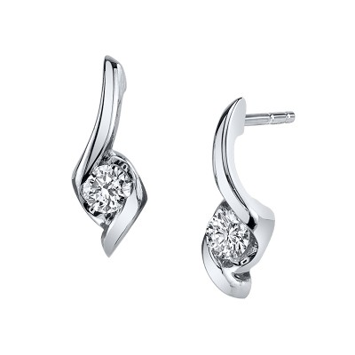 Diamond Soliataire Earrings by Sirena