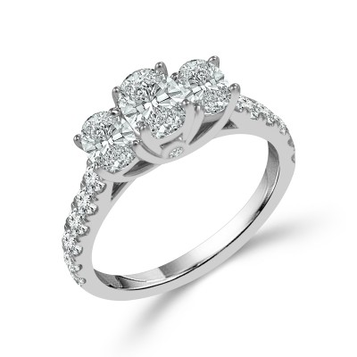 Oval 3 Stone Ring With Sides