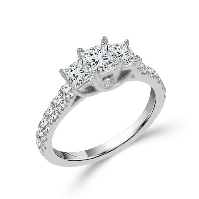 Princess 3 Stone Ring With Sides