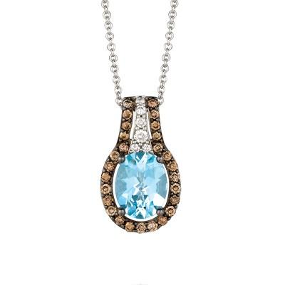 Aquamarien, Chocolate And White Diamonds Diamond Necklace