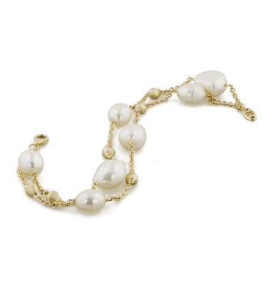14K Yellow Gold and 8-11mm White Freshwater Cultured Pearl 2 Row Nugget Bracelet