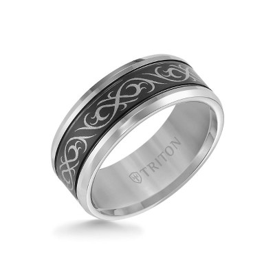 Triton 9mm Black & White Tungsten Band