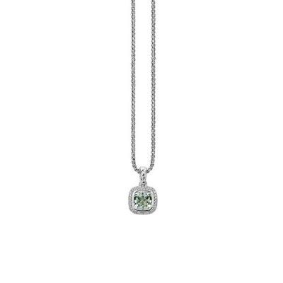 Sterling Silver Green Amethyst and Diamond Cushion Pendant