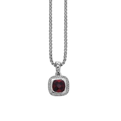 Sterling Silver Ivy Garnet and Diamond Cushion Pendant