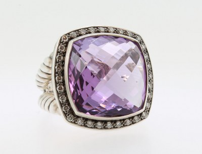 David Yurman Amethyst and Diamond Ring