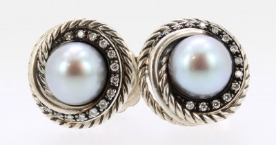 David Yurman Pearl and Diamond Earrings