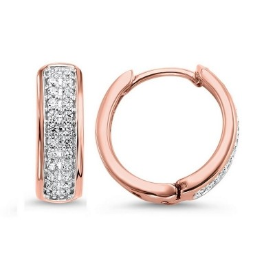 Diamond Double Row Hoop Earrings in 14k Rose Gold (1/4 ctw)