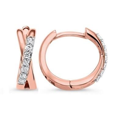 Diamond Criss-Cross XO Hoop Earrings in 14k Rose Gold (1/6ctw)