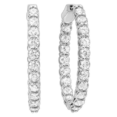 Diamond Inside Out Oval Hoop Earrings in 14k White Gold (1ctw)