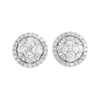 Diamond Round Halo Cluster Stud Earrings in 14k White Gold (1 ctw)