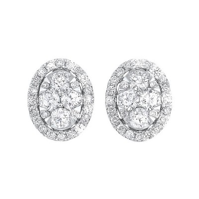 Diamond Oval Halo Cluster Stud Earrings in 14k White Gold (1 ctw)