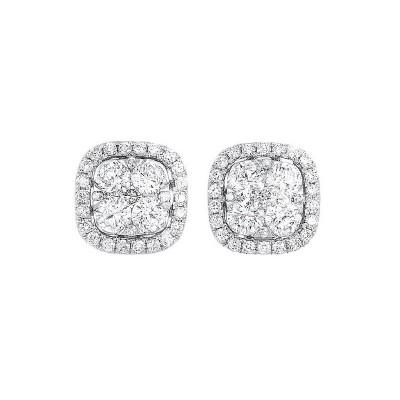 Diamond Cushion Halo Cluster Stud Earrings in 14k White Gold (1/2 ctw)