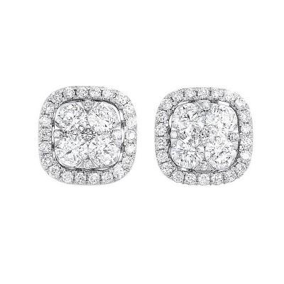 Diamond Cushion Halo Cluster Stud Earrings in 14k White Gold (1 ctw)