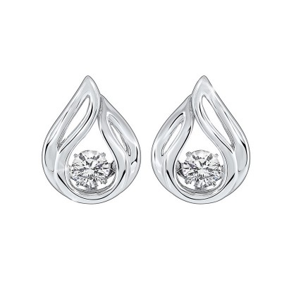 Diamond Solitaire Teardrop Anniversary Earrings in Sterling Silver