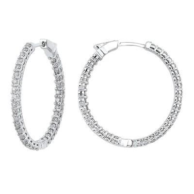 Diamond Inside Out Round 14k White Gold Hoop Earrings (3 ctw)