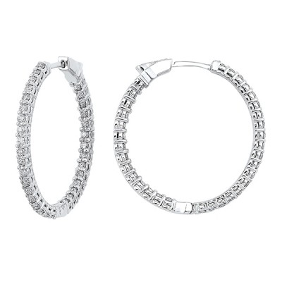 Diamond Inside Out Round 14k White Gold Hoop Earrings (5 ctw)
