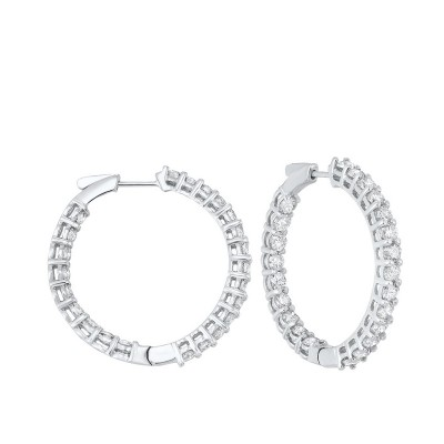 Diamond Inside Out Round 14k White Gold Hoop Earrings (7 ctw)